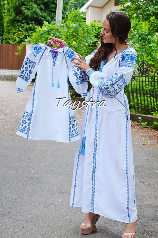 Mums and daughters dress, for the mother and daughter, embroidered for family, embroidered linen ethno style boho chic, Vyshyvanka Dress Two-piece clothes, Embroidered clothes for two