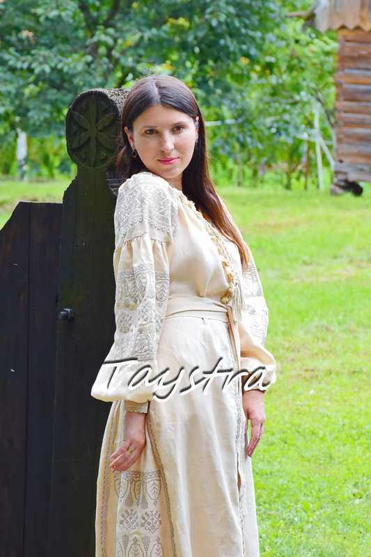 Embroidered Dress Bohemian Vyshyvanka Dress Multi Color Embroidery Linen, Dress Ukrainian