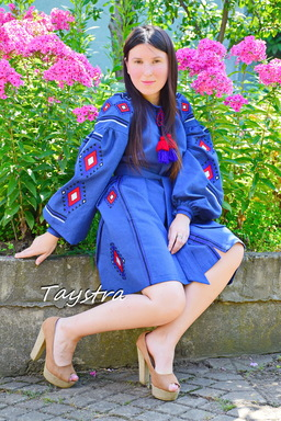 Gypsy Dress Embroidered Vyshyvanka Blue Dress Multi Color Embroidery Linen Dress Ukrainian