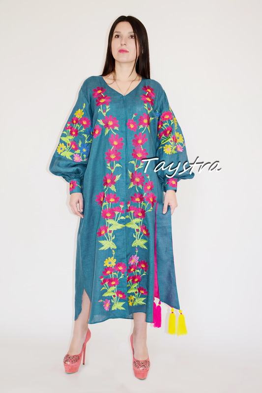 Embroidered Dress Vyshyvanka Green Dress Linen, Stylish Evening Dress Ukrainian