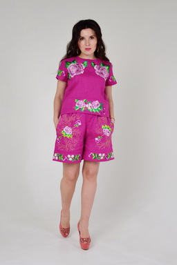 Suit Summer Linen, Embroidered Ethno Style Shorts and Blouse, Embroidered Boho Clothes