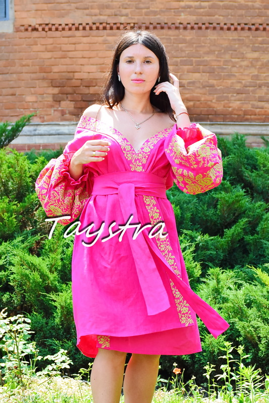 Dress Dressing Gown Color Embroidery Linen Bohemian Vyshyvanka Ukrainian embroidery