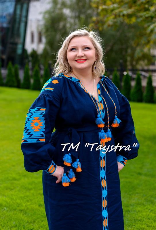 Embroidered Dress Short Blue Dress Tunic Linen, ethno style boho chic, Vyshyvanka Dress Multi Color Embroidery Linen, Ukrainian embroidery