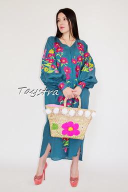 Embroidered Dress Vyshyvanka Green Dress Linen, Stylish Evening Dress Ukrainian