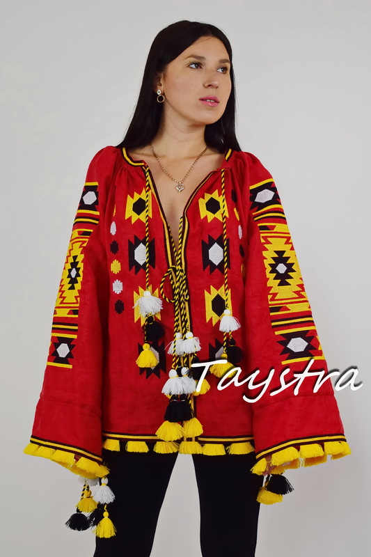 Vyshyvanka Ukrainian Embroidered Blouse Multi Color Embroidery Linen, Embroidered Blouse