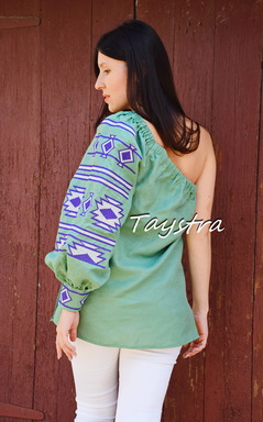 Embroidered Blouse Ukrainian embroidery,One-sleeve Embroidered Blouse, One Shoulder Embroidered Blouse, Embroidered clothes Bohemian, ethno