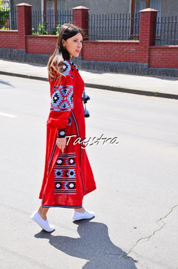 Vyshyvanka Red Dress Ukrainian embroidery, Boho ethno style boho chic, Embroidered dress Linen