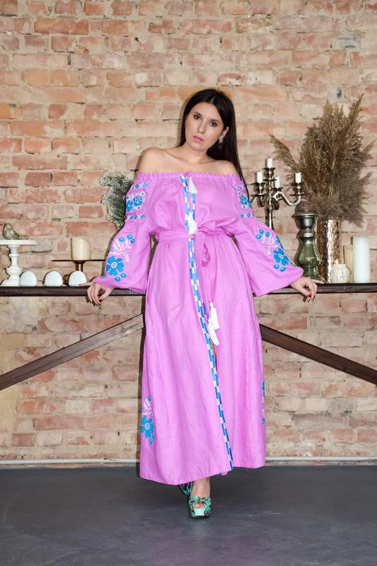 Dress Vyshyvanka Linen Multi Color Embroidery, Ukrainian embroidery, Pink  Robe Dress