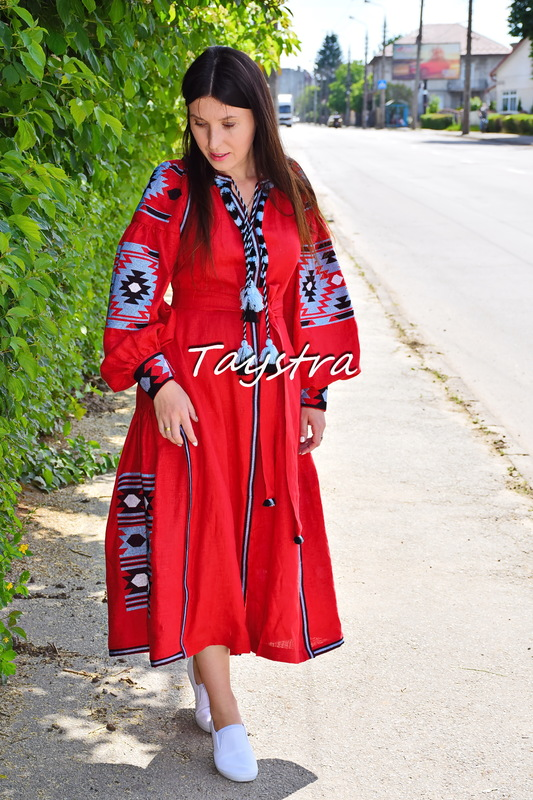 Vyshyvanka Red Dress Ukrainian embroidery, Boho ethno style boho chic, Embroidered dress Linen