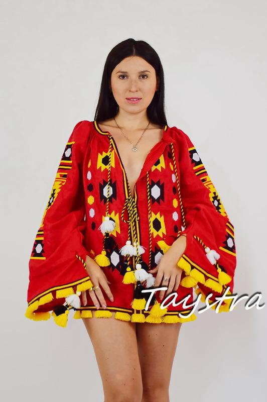 Embroidered short dress vyshyvanka Ukrainian embroidered Tunic Boho style