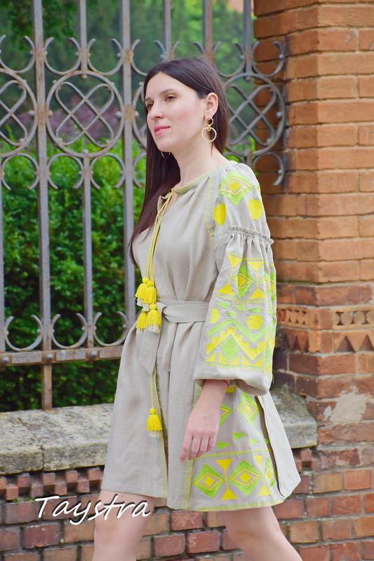 Dress Vyshyvanka Ukrainian embroidery, ethno style boho chic, Beige Mini Dress