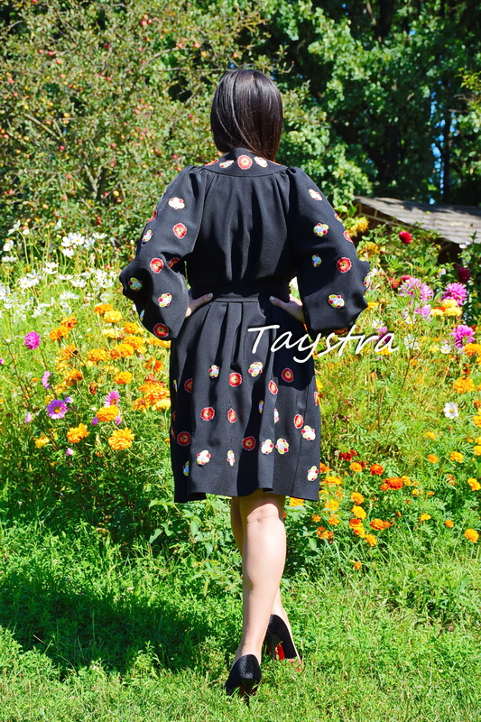 Embroidered Dressing Gown Vyshyvanka Ukrainian embroidery Black Dress