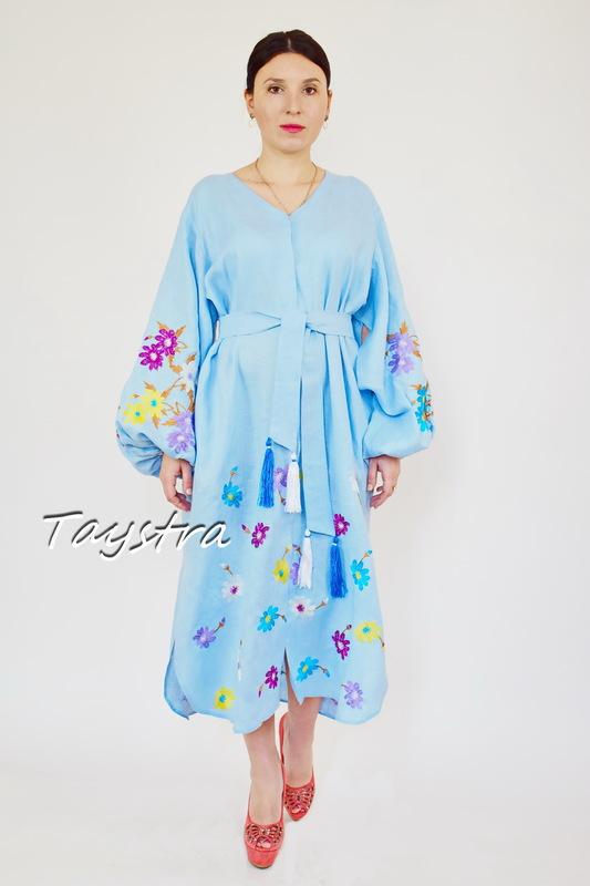 Dress Embroidered Vyshyvanka Blue Maxi Dress Linen, Dress Ukrainian