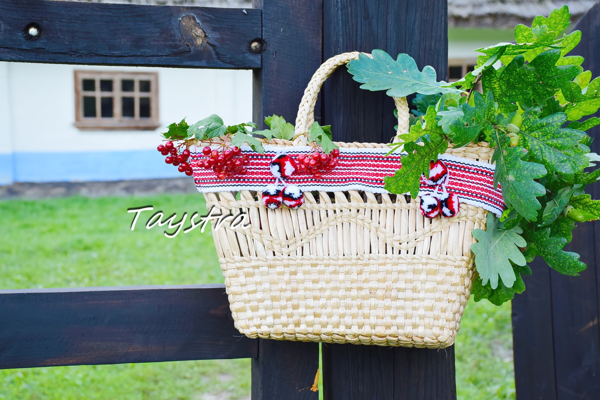 Handmade wicker bag decorated in ethnic style