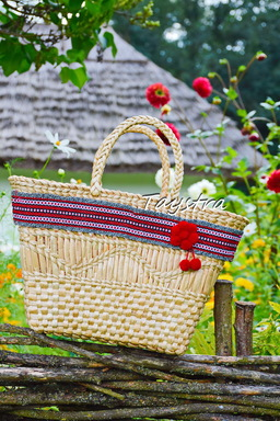 Wicker bag Handmade decorated in ethnic style