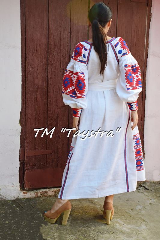 Vyshyvanka  Ukrainian embroidery, White Embroidered Dress, ethno style boho chic, Embroidered dress, Multi Color Embroidery Linen