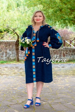 Embroidered Dress Short Blue Dress Tunic Linen, ethno style boho chic, Vyshyvanka Dress Multi Color Embroidery Linen, Ukrainian embroidery