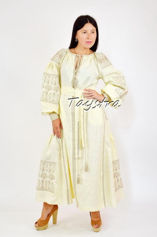 Dress Embroidered, Dress Boho Chic, Vyshyvanka Dress Embroidery Linen, Ukrainian Embroidered Dress Beige
