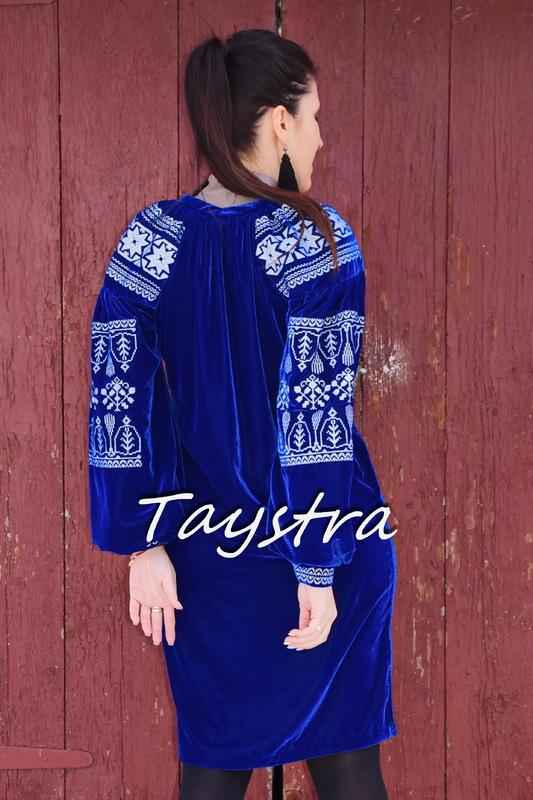 Velvet Short Boho Dress, Blue Dress Silver Embroidery, ethno style boho chic, Bohemian, Vyshyvanka Dress Multi Color Embroidery, Ukrainian embroidery