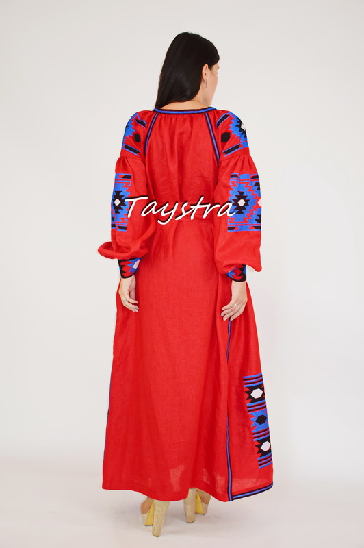 Red Dress Embroidered linen drees ethno style boho chic Vyshyvanka Dress Embroidered