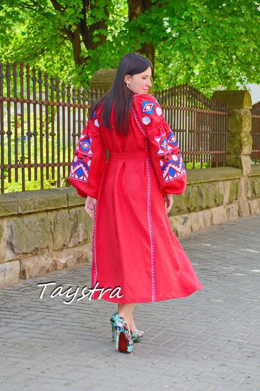 Midi Dress Embroidered, Boho Chic Red Linen Dress Vyshyvanka Ukrainian embroidery