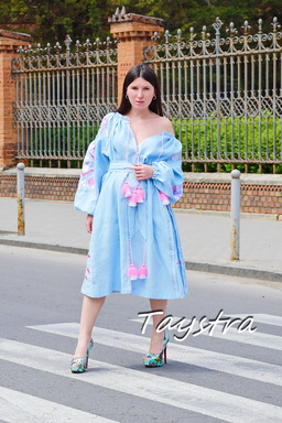Gently Blue Midi Dress Embroidered Vyshyvanka Dress Embroidered Linen Mini Dress