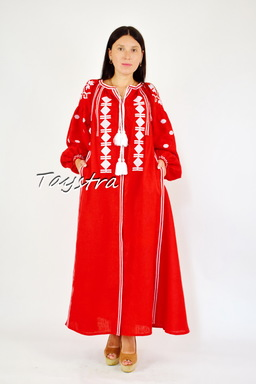 Vyshyvanka Red Dress Ukrainian embroidery, ethno style boho chic, Embroidered dress, Multi Color Embroidery Linen