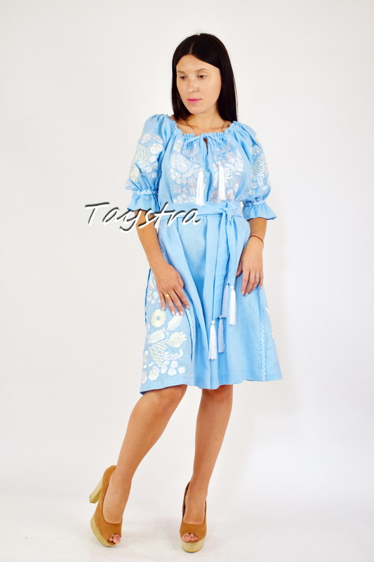 Embroidered Blue Dress Linen Vyshyvanka Dress Embroidery Linen, Ukrainian embroidery Sky-Blue Dress