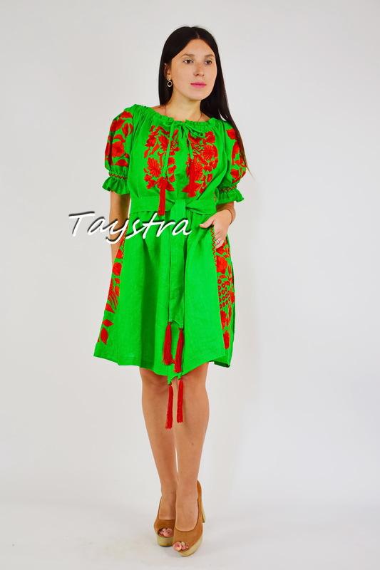 Embroidered Dress Linen Vyshyvanka Dress Embroidery Linen, Ukrainian embroidery Green Dress
