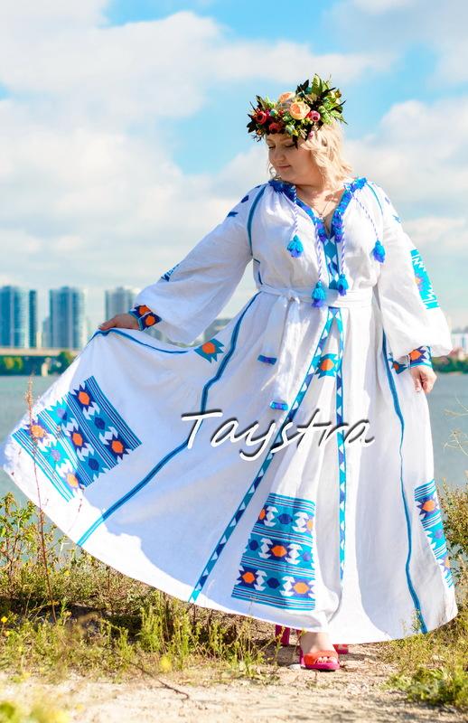 Boho Chic Maxi Dress Embroidered Vyshyvanka Dress Multi Color Embroidery Linen, Ukrainian embroidery, White Maxi Dress