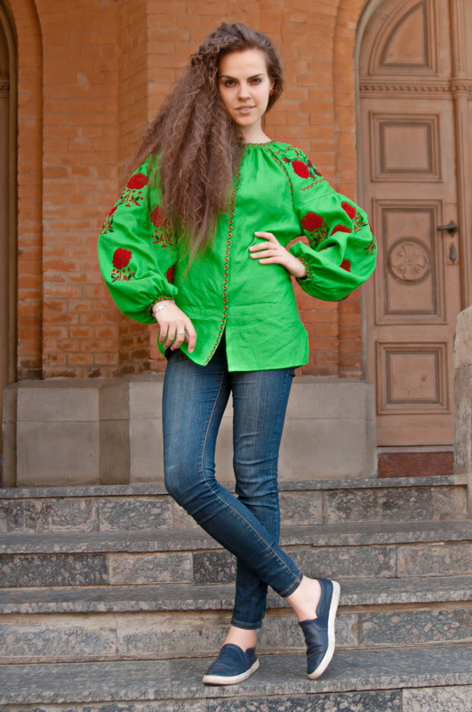 Vyshyvanka,Embroidered Green Blouse,Ukrainian Embroidery, Boho, ethno, style boho chic, Multi Color Embroidery Linen