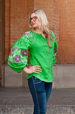 Vyshyvanka Ukrainian Embroidery, Boho, ethno, style boho chic, Embroidered Blouse, Green Blouse, Multi Color Embroidery Linen