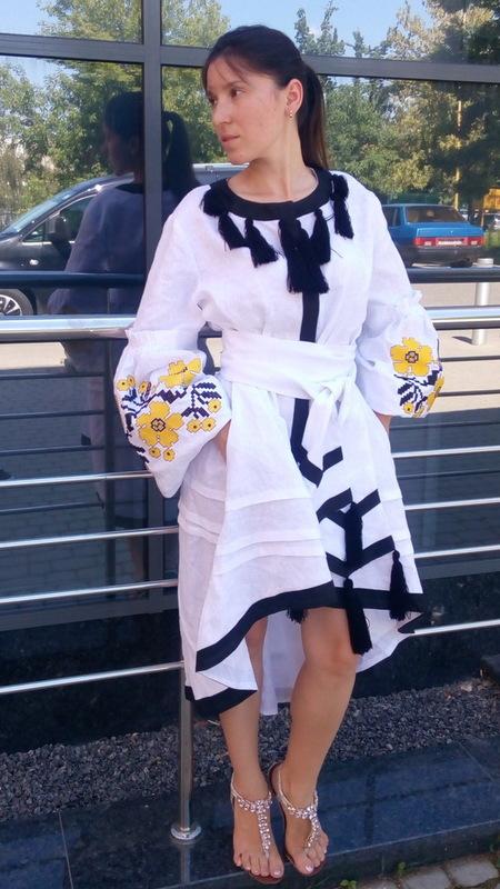 White Dress Embroidered Wedding dress, Bohemian, Vyshyvanka  Ukrainian embroidery, Boho, ethno, style boho chic,Fashionable stylish evening dress boho embroidered linen
