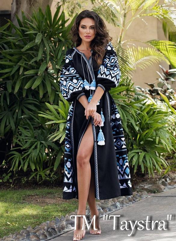Black Maxi Dress Multi Color Embroidery Linen Dress Ukrainian embroidery Dress Embroidered Vyshyvanka