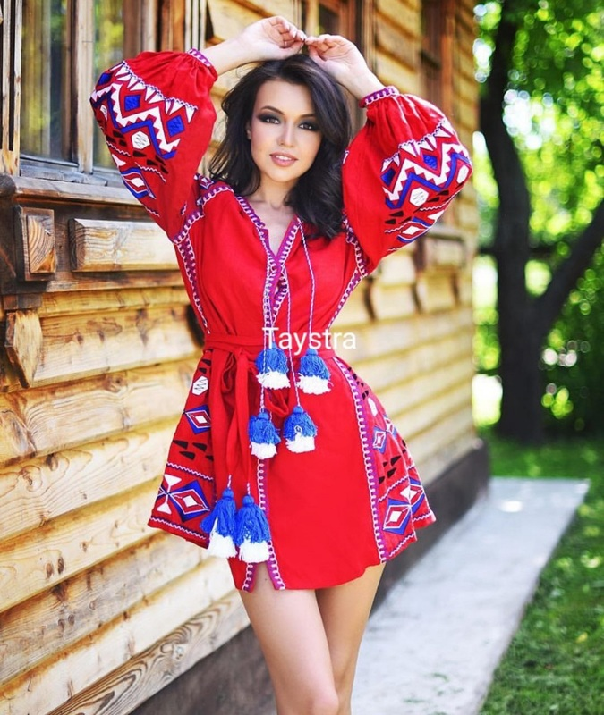Short Red Dress Embroidered Vyshyvanka Dress Embroidery Ukrainian Linen Dress