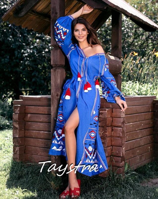 Dress Embroidered Vyshyvanka Blue Maxi Dress Multi Color Embroidery Linen Dress Ukrainian