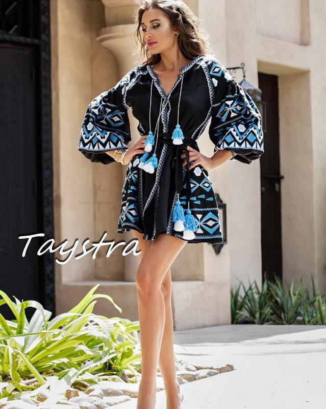 Short Black Dress Embroidered Vyshyvanka Dress Embroidery Linen Dress Ukrainian