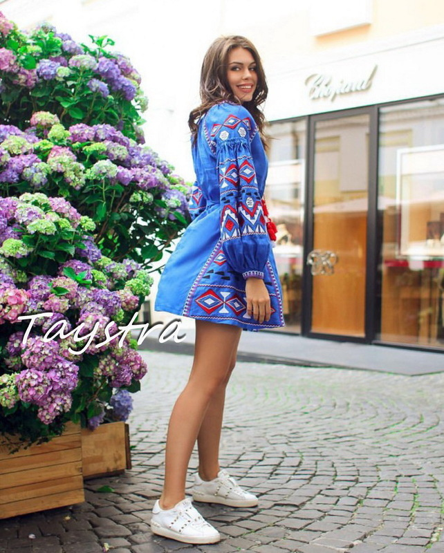 Vyshyvanka Dress Short Blue Dress Embroidered Linen Dress Ukrainian
