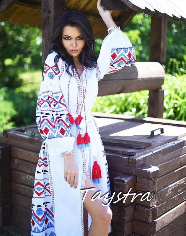 White Maxi Dress Embroidered Vyshyvanka Dress Linen Ukrainian