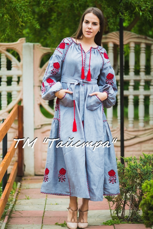 Embroidered dress Boho, ethno, style boho chic, Bohemian, Vyshyvanka Dress Multi Color Embroidery Linen, Ukrainian embroidery