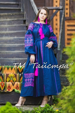Boho dress embroidered ,Dark blue linen, ethno, style boho chic, Bohemian Vyshyvanka Dress Multi Color Embroidery Linen, Ukrainian embroidery