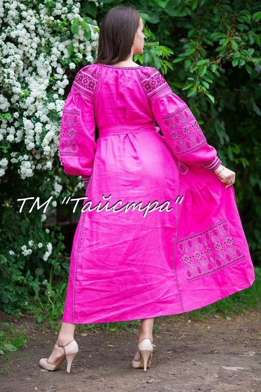 Boho dress embroidered , Bright linen, ethno, style boho chic, Bohemian Vyshyvanka Dress Multi Color Embroidery Linen, Ukrainian embroidery