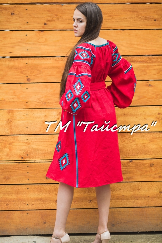 Red dress boho embroidered linen, ethno style boho chic, Bohemian Vyshyvanka Dress Multi Color Embroidery Linen, Ukrainian embroidery