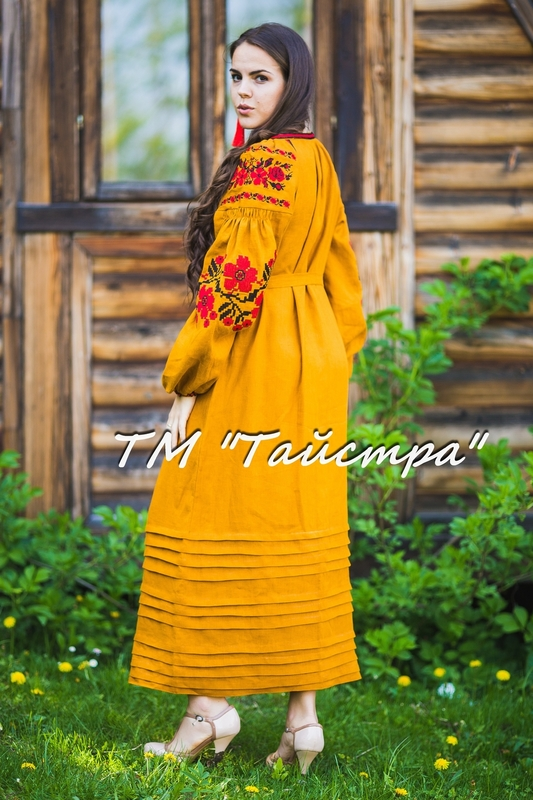 Vyshyvanka dress Ukrainian embroidery, Boho, ethno, style boho chic, Embroidered Honey dress, Multi Color Embroidery Linen