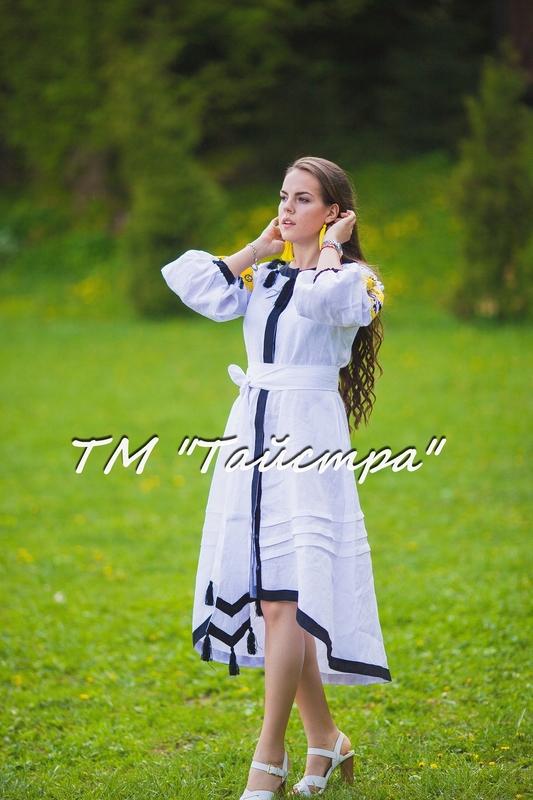 White Embroidered Wedding dress, Bohemian, Vyshyvanka  Ukrainian embroidery, Boho, ethno, style boho chic,Fashionable stylish evening dress boho embroidered linen