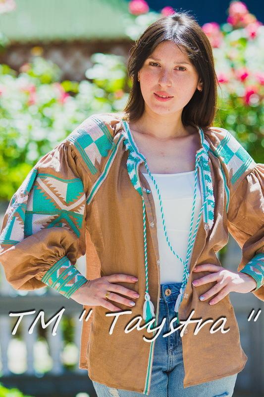 Boho Embroidered Blouse Vyshyvanka  Linen, embroidered linen, ethno, style boho chic, Bohemian, Vyshyvanka  Multi Color Embroidery Linen, Ukrainian embroidery,Embroidered clothes,Brown Blouse