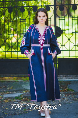 Boho Dress Embroidered, Dark blue linen, ethno, style boho chic, Bohemian Vyshyvanka Dress Multi Color Embroidery Linen, Ukrainian embroidery,Fashionable stylish evening dress