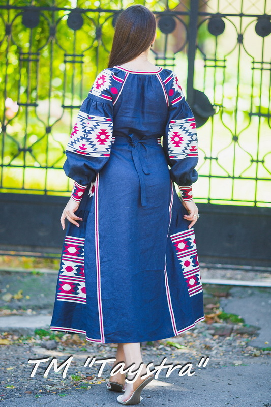 Boho Dress Embroidered, Dark blue linen, ethno, style boho chic, Bohemian Vyshyvanka Dress Multi Color Embroidery Linen, Ukrainian embroidery,Fashionable stylish evening dress