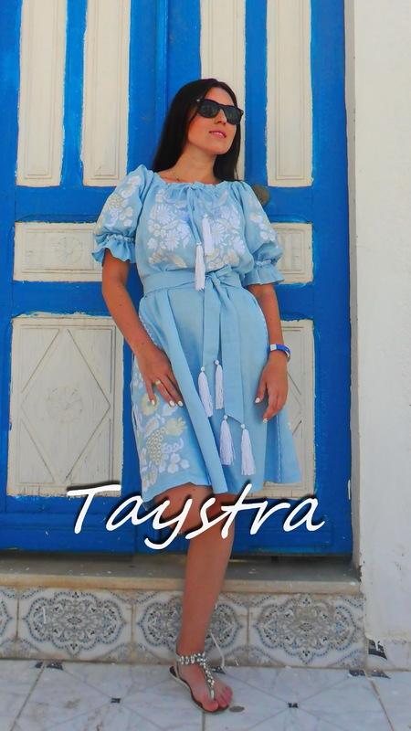 Dress Embroidered Gypsy Style Dress Linen,Vyshyvanka Dress Embroidery Linen, Ukrainian embroidery Sky-Blue Dress