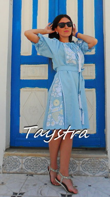 Dress Embroidered Gypsy Style Dress Linen,Vyshyvanka Dress Embroidery Linen, Ukrainian embroidery Sky-Blue Dress